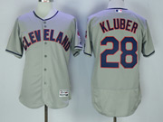 Mens Majestic Cleveland Indians #28 Corey Kluber Grey Flex Base Jersey