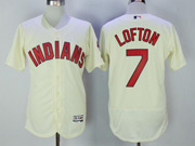 Mens Majestic Cleveland Indians #7 Kenny Lofton Cream Flex Base Jersey