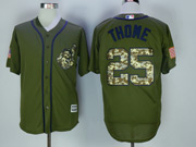 Mens Majestic Cleveland Indians #25 Jim Thome Army Green Salute To Service Jersey
