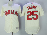 Mens Majestic Cleveland Indians #25 Jim Thome Cream Flex Base Jersey