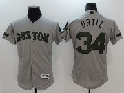Mens Mlb Majestic Boston Red Sox #34 David Ortiz Grey 2017 Memorial Day Flex Base Jersey