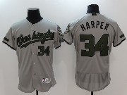 Mens Majestic Washington Nationals #34 Bryce Harper Grey 2017 Memorial Day Flex Base Jerseyjersey