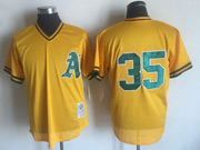Mens Mlb Oakland Athletics #35 Rickey Henderson Yellow Mitchell&ness Pullover Mesh Throwbacks Jersey