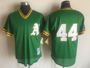 Mens Mlb Oakland Athletics #44 Reggie Jackson Green Mitchell&ness Pullover Mesh Throwbacks Jersey