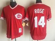 Mens Mitchell&ness Mlb Cincinnati Reds #14 Rose Red Throwbacks Pullover Mesh Jersey