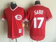 Mens Mitchell&ness Mlb Cincinnati Reds #17 Chris Sabo Red Pullover Throwback Mesh Jersey