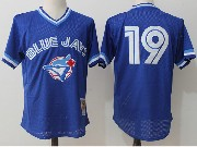 Mens Mitchell&ness Mlb Toronto Blue Jays #19 Jose Bautista Blue Pullover Throwback Mesh Jersey