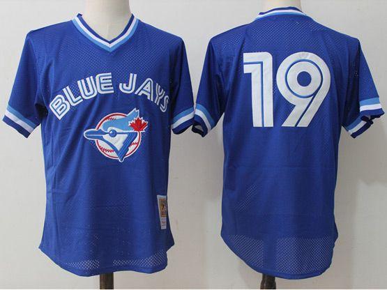 Mens Mitchell&ness Mlb Toronto Blue Jays #19 Jose Bautista Blue Pullover Throwback Mesh Jersey