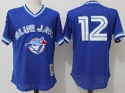 Mens Mitchell&ness Mlb Toronto Blue Jays #12 Roberto Alomar Blue Pullover Throwback Mesh Jersey