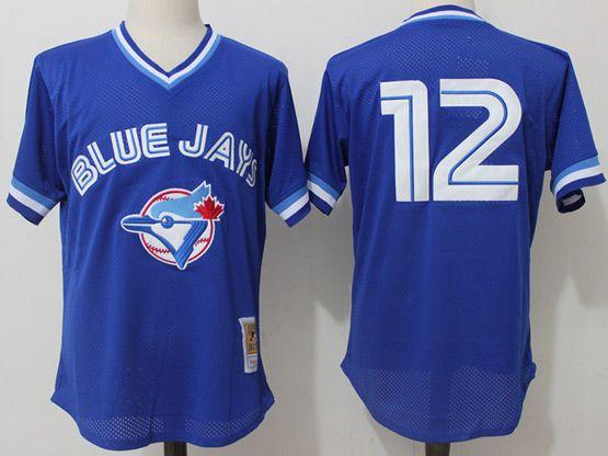 Mens Mitchell&ness Mlb Toronto Blue Jays #12 Roberto Alomar Blue Pullover Throwback Mesh Jersey
