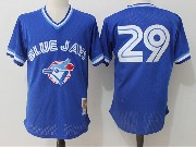 Mens Mitchell&ness Mlb Toronto Blue Jays #29 Joe Carter Blue Pullover Throwback Mesh Jersey