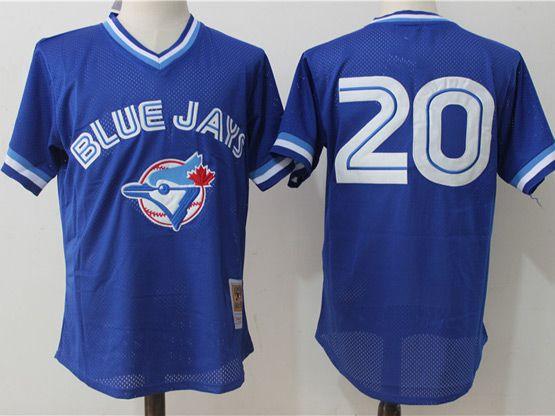 Mens Mitchell&ness Mlb Toronto Blue Jays #20 Josh Donaldson Blue Pullover Throwback Mesh Jersey