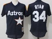 Mens Mitchell&ness Mlb Houston Astros #34 Ryan Dark Blue Pullover Throwback Mesh Jersey Fs