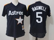Mens Mitchell&ness Mlb Houston Astros #5 Jeff Bagwell Dark Blue Pullover Throwback Mesh Jersey Fs
