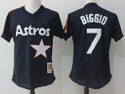 Mens Mitchell&ness Mlb Houston Astros #7 Craig Biggio Dark Blue Pullover Throwback Mesh Jersey Fs