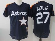 Mens Mitchell&ness Mlb Houston Astros #27 Jose Altuve Dark Blue Pullover Throwback Mesh Jersey Fs