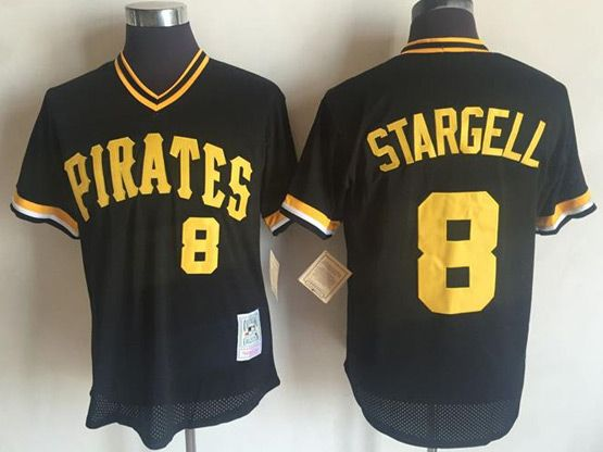 Mens Mitchell&ness Mlb Pittsburgh Pirates #8 Stargell Black Pullover Throwback Mesh Jersey