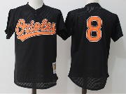 Mens Mitchell&ness Mlb Baltimore Orioles #8 Ripken Black  Pullover Throwback Mesh Jersey