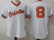 Mens Mitchell&ness Mlb Baltimore Orioles #8 Ripken White Pullover Throwback Mesh Jersey