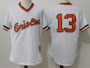 Mens Mitchell&ness Mlb Baltimore Orioles #13 Manny Machado White Pullover Throwback Mesh Jersey