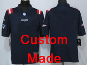 Nfl New England Patriots (custom Made) Navy Blue Color Rush Limited Jersey