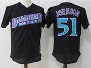 Mens Mlb Arizona Diamondbacks #51 Randy Johnson Black Pullover Throwback Mesh Jersey