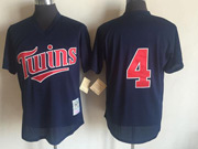 Mens Mlb Minnesota Twins #4 Navy Blue Pullover Throwback Mesh Jersey
