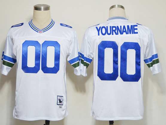 Nfl Seattle Seahawks (custom Made) White Throwbacks Jersey