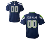 Kids Nfl Seattle Seahawks (custom Made) Dark Blue Game Jersey