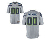 Nfl Seattle Seahawks (custom Made) Gray Game Jersey