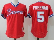 Mens Mlb Atlanta Braves #5 Freeman Red Pullover Throwback Mesh Jersey
