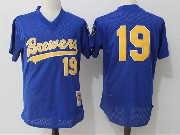Mens Mlb Milwaukee Brewers #19 Robin Yount Dark Blue Pullover Throwback Mesh Jersey