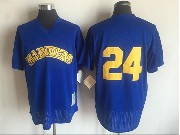 Mens Mlb Seattle Mariners #24 Ken Griffey Jr Blue Pullover Throwback Mesh Jersey