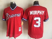 Mens Mlb Atlanta Braves #3 Dale Murphy Red Pullover Throwback Mesh Jersey