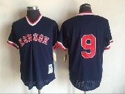 Mens Mlb Boston Red Sox #9 Ted Williams Blue Pullover Throwback Mesh Jersey