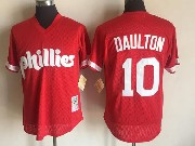 Mens Mlb Philadelphia Phillies #10 Daulton Red Pullover Throwback Mesh Jersey