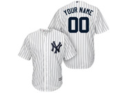 Mlb New York Yankees (custom Made) White Stripe Cool Base Jersey With Name