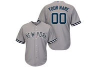 Mens Women Youth Mlb New York Yankees (custom Made) Gray Cool Base Jersey With Name