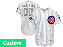 Mens Majestic Mlb Chicago Cubs Custom Made White 2017 Gold Program Flex Base Player Jersey