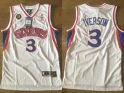 Mens Nba Philadelphia 76ers #3 Allen Iverson White (blue Number) Mesh Jersey