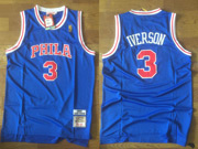 Mens Nba Philadelphia 76ers #3 Allen Iverson (phila) Blue (red Number) Hardwood Throwback Jersesy