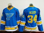 Women Reebok St.louis Blues #34 Jake Allen Blue 2017 Winter Classic Jersey