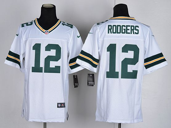 Mens Nfl Green Bay Packers #12 Aaron Rodgers White Elite Jersey
