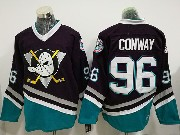 Mens Ccm Nhl Anaheim Mighty Ducks #96 Charlie Conway Black Throwback Jersey