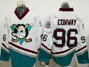 Mens Ccm Nhl Anaheim Mighty Ducks #96 Charlie Conway White Throwback Jersey