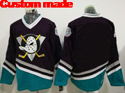 Mens Ccm Nhl Anaheim Mighty Ducks Custom Made Black Throwbacks Jersey