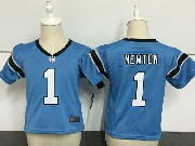 Kids Nfl Carolina Panthers #1 Cam Newton Light Blue Jersey