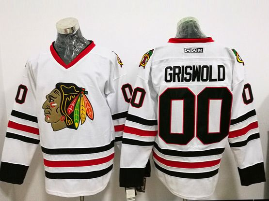 Mens Ccm Nhl Chicago Blackhawks #00 Griswold White Throwbacks Jersey