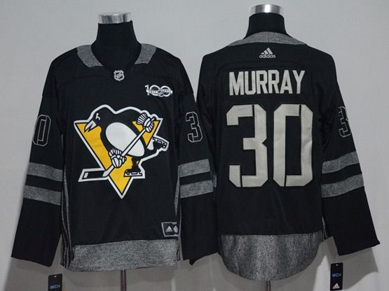 Mens Adidas Nhl Pittsburgh Penguins #30 Matt Murray Black 100 Anniversary Jersey