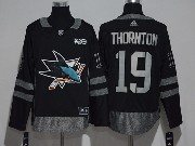 Mens Reebok San Jose Sharks #19 Joe Thornton Black 100 Anniversary Jersey